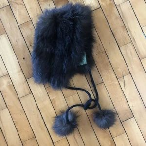 Vtg 50s Fox Fur Winter Hat Hood with Pom Poms